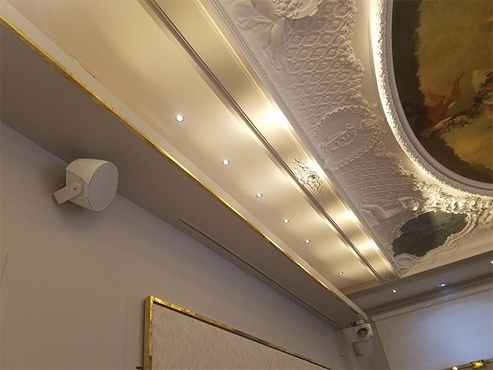 Enceinte FrenchFlair Audio AS-8 dans la Salles des Fresques du Pavillon Élysée