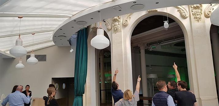 Enceintes FrenchFlair Audio AS-3 suspension au Pavillon Élysée